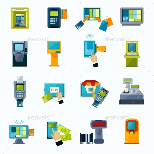 Atm Payment Flat Icons Set - Technology Icons