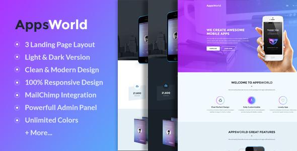 AppsWorld – Responsive App Landing Page Theme