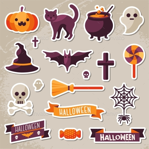 Set of Halloween Ribbons and Characters Stickers  - Halloween Seasons/Holidays