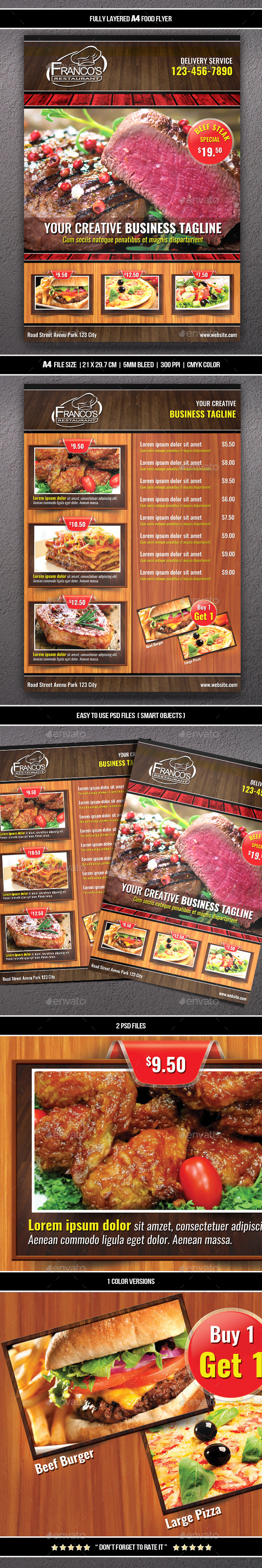Food Flyer 6 (A4) - Restaurant Flyers