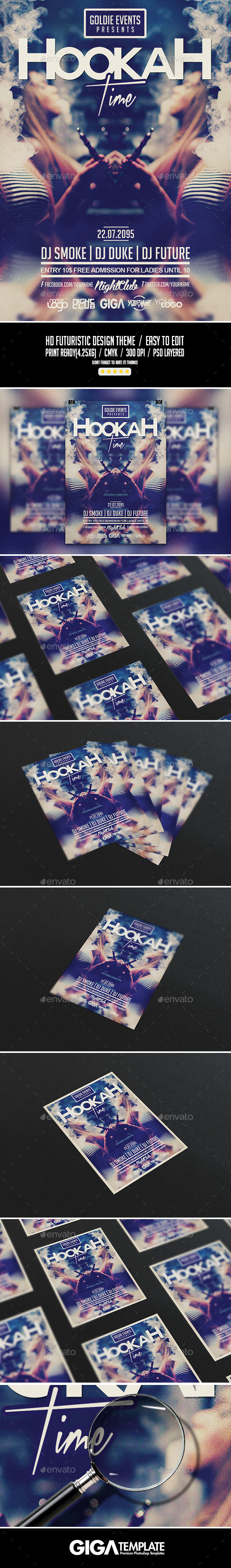 Hookah Time | Lifestyle Party PSD Flyer Template - Events Flyers