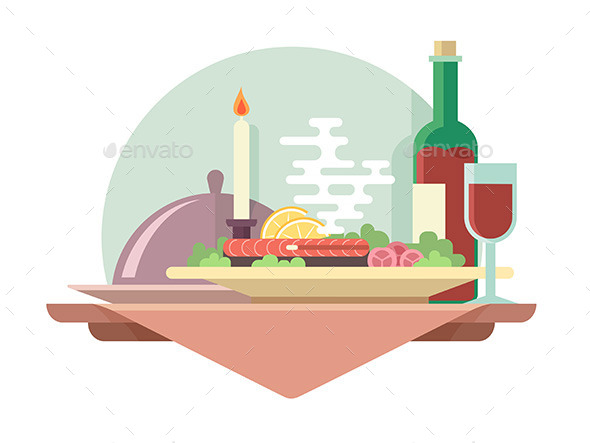 Dinner at Restaurant Illustration - Food Objects