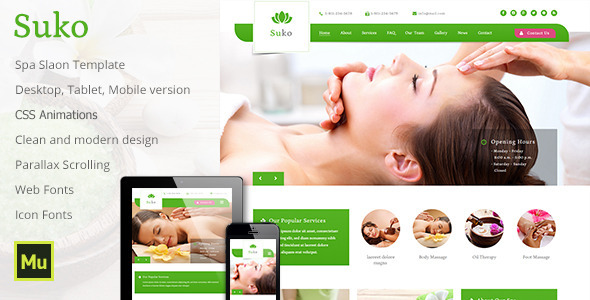 Suko – Spa Salon Template