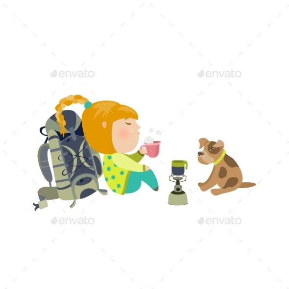 Camping Girl Drinks Tea - People Characters