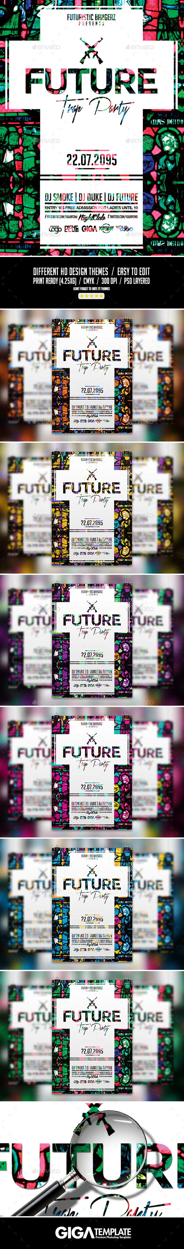 Future Trap Party | Futuristic PSD Flyer Template - Events Flyers