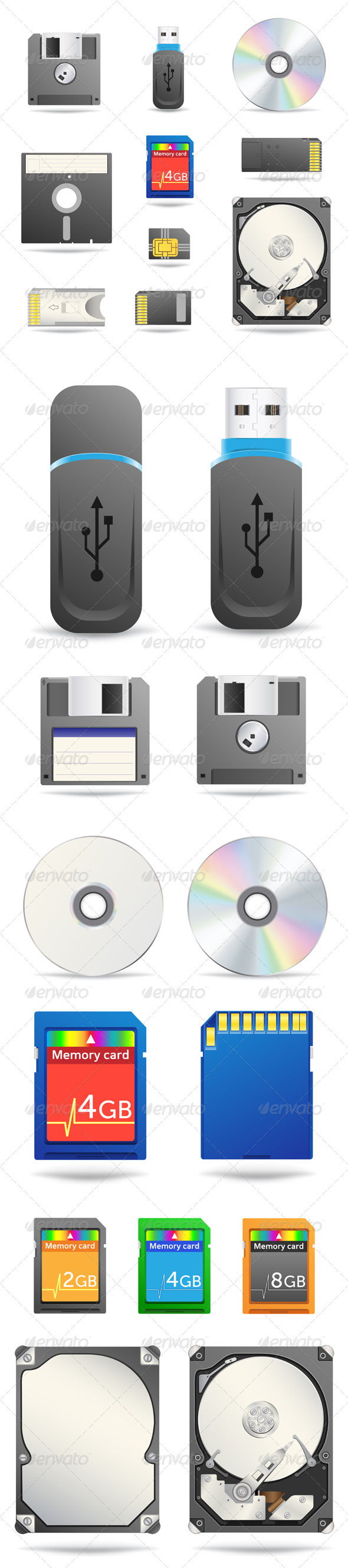 Digital data devices icon set - Technology Conceptual