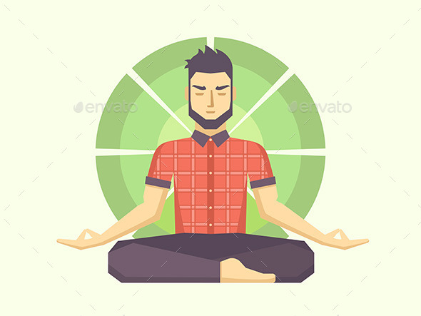 Man Meditates in the Lotus Position - People Characters