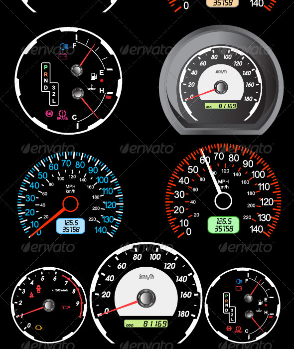 Set of Car Speedometers for Racing Design.  - Miscellaneous Conceptual