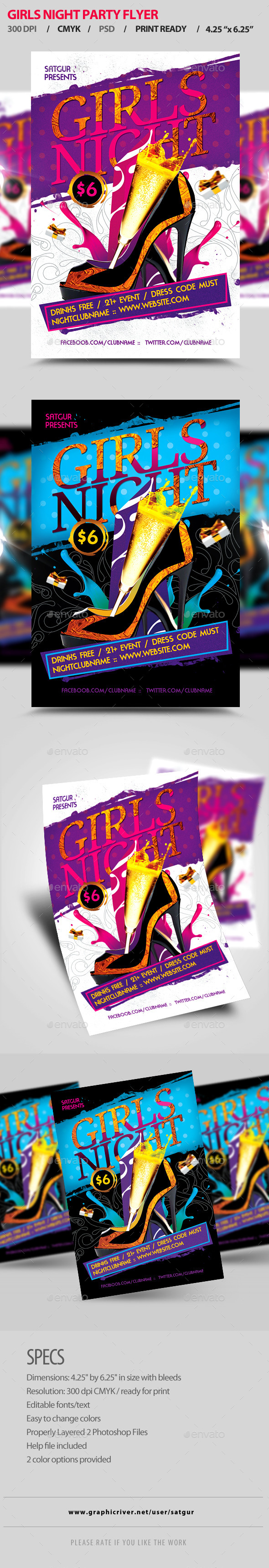 Girls Night Party Flyer V3 - Clubs & Parties Events