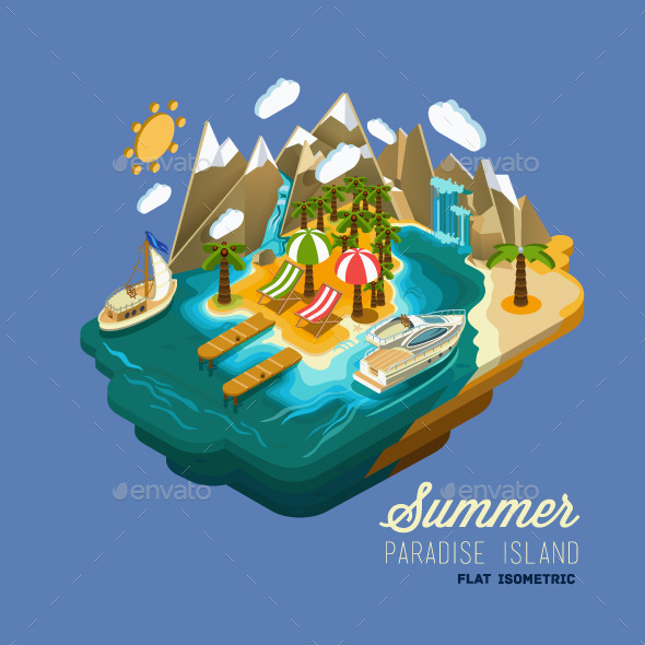 Summer Paradise Island Flat Isometric Concept - Travel Conceptual