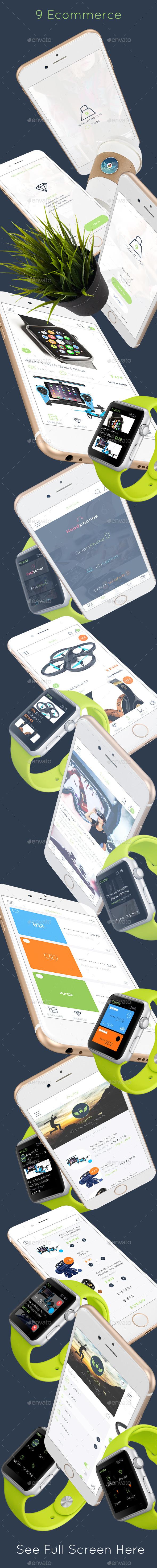 9 Ecommerce Mobile UI Kit - User Interfaces Web Elements