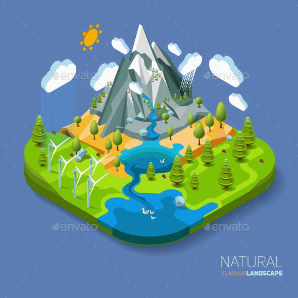 Natural Landscape with Mountains River and Forest  - Landscapes Nature