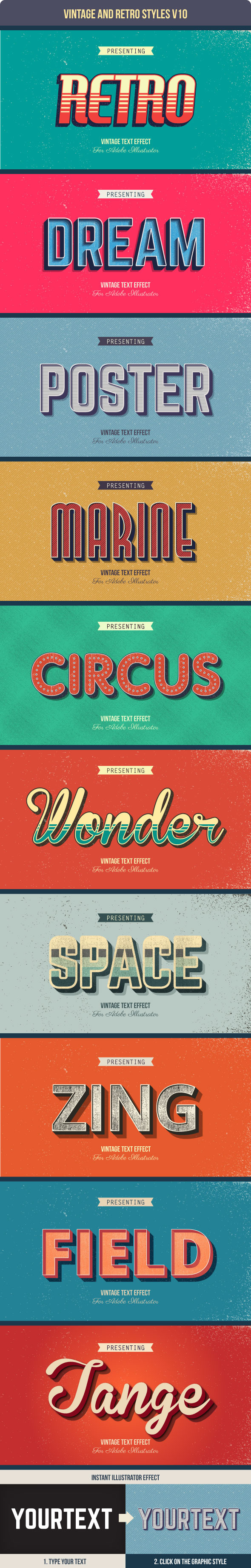 Vintage and Retro Styles V10 - Styles Illustrator