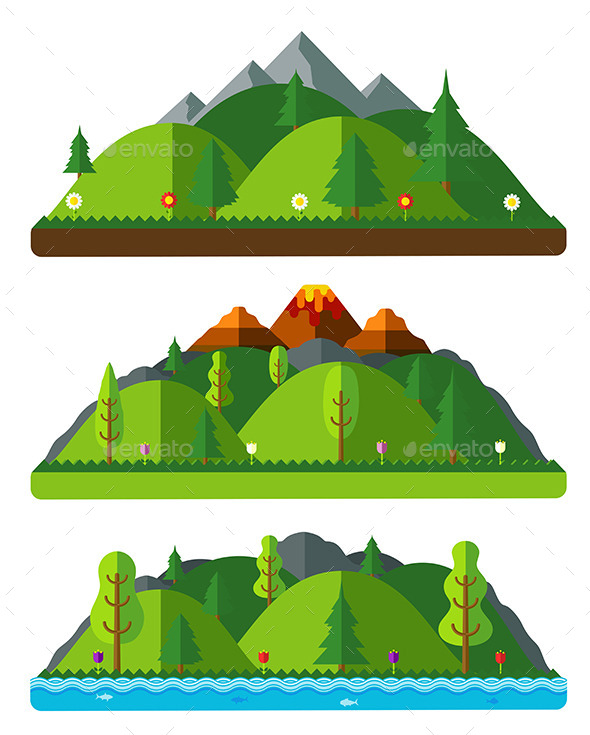 Design Nature Landscapes of Hills and Mountains - Landscapes Nature
