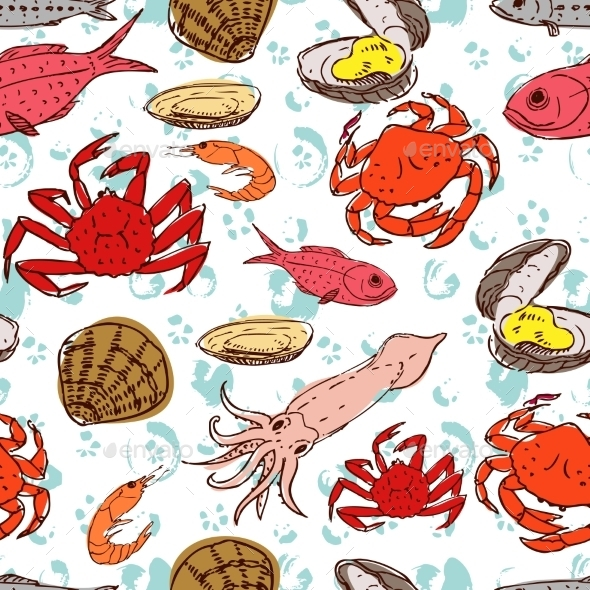 Seafood Seamless Background  - Food Objects
