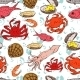 Seafood Seamless Background  - GraphicRiver Item for Sale