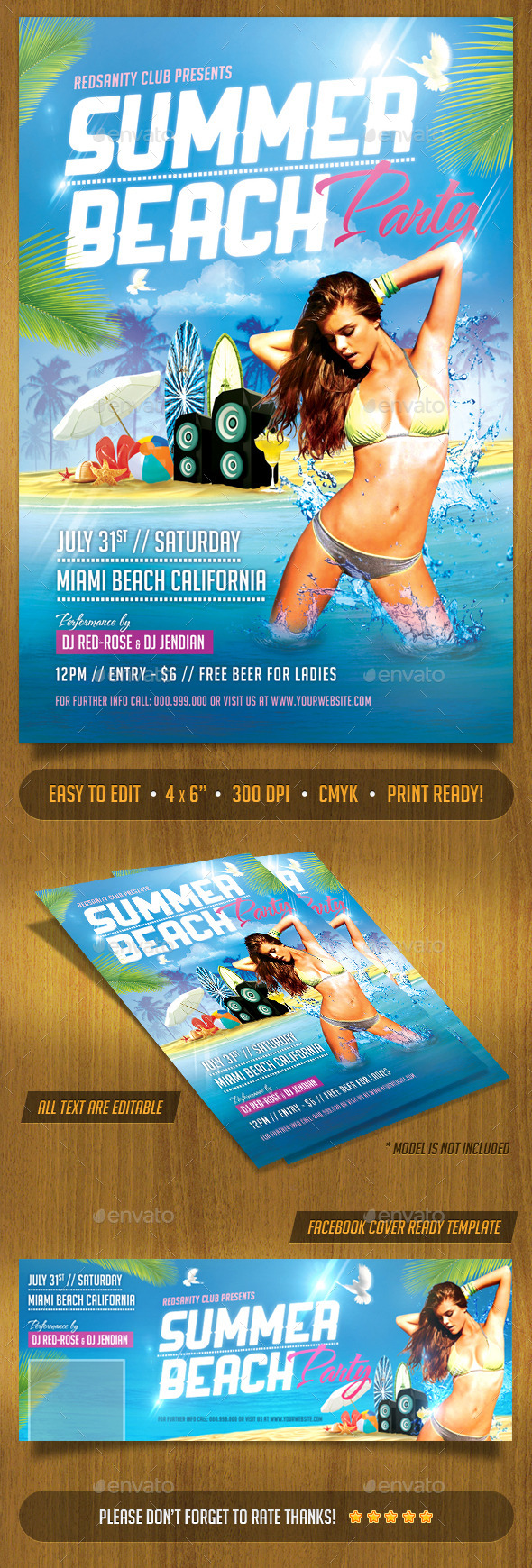 Summer Beach Party Flyer Plus FB Cover - Clubs & Parties Events