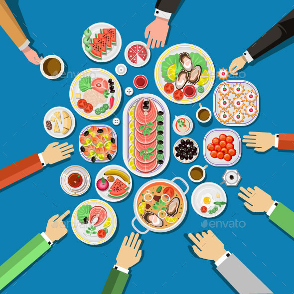 Catering Party with People Hands and Dishes - Food Objects