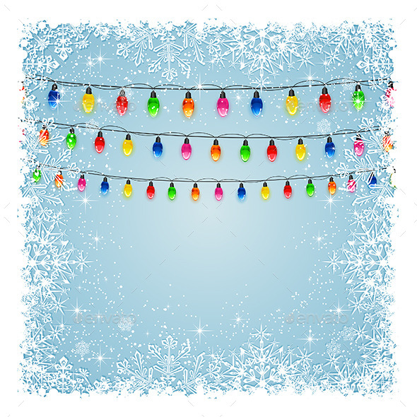 Christmas Lights with Snowflakes - Christmas Seasons/Holidays