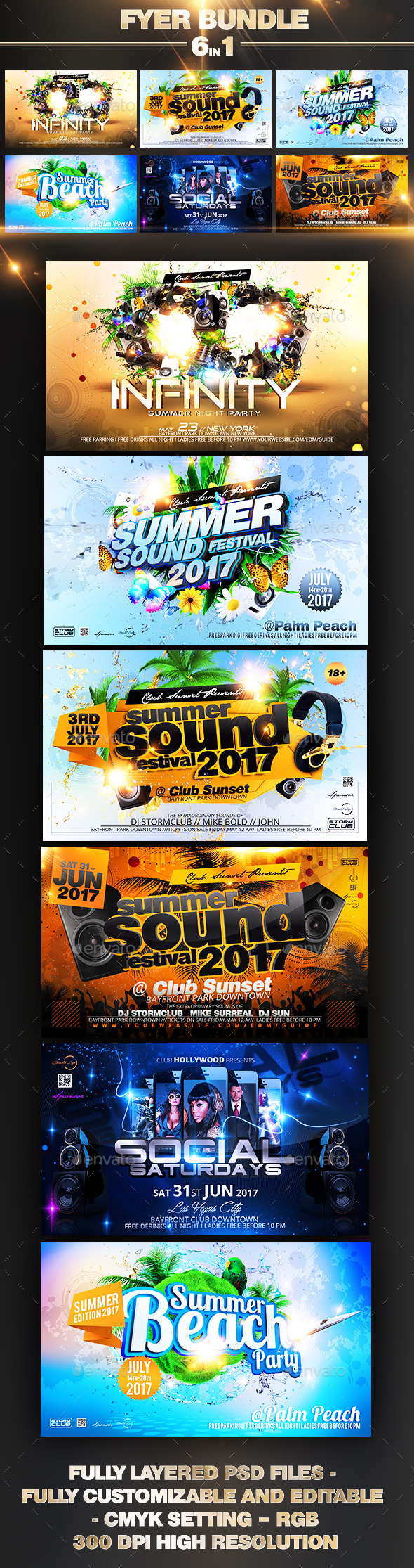 Summer Party Flyer Bundle - Events Flyers