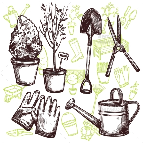 Garden Tools Sketch Concept - Man-made Objects Objects