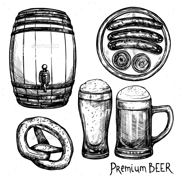 Beer Sketch Decorative Icon Set - Food Objects