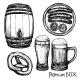 Beer Sketch Decorative Icon Set