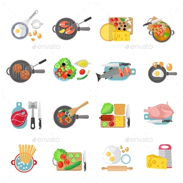 Home Cooking Flat Icons Set - Food Objects
