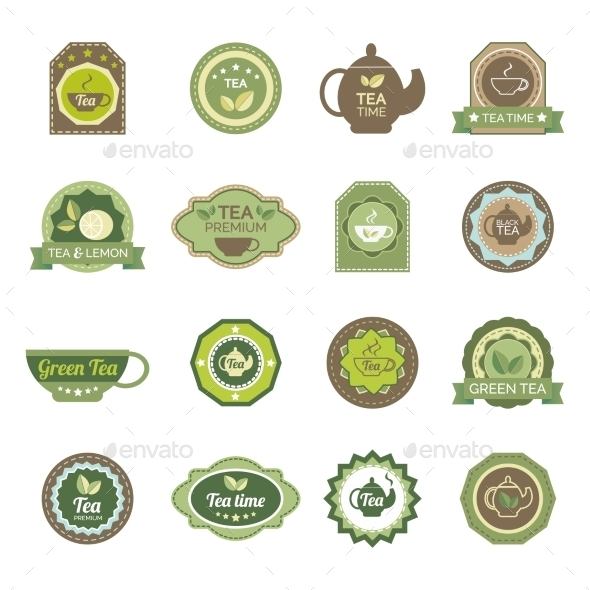 Green Tea Labels Icons Set - Food Objects