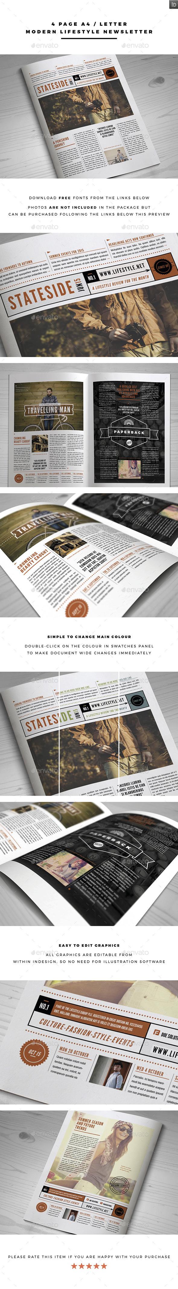 Modern Lifestyle Newsletter - Newsletters Print Templates