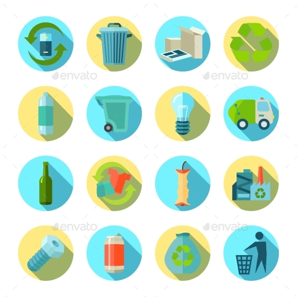 Waste Sorting Round Icons Set  - Man-made objects Objects