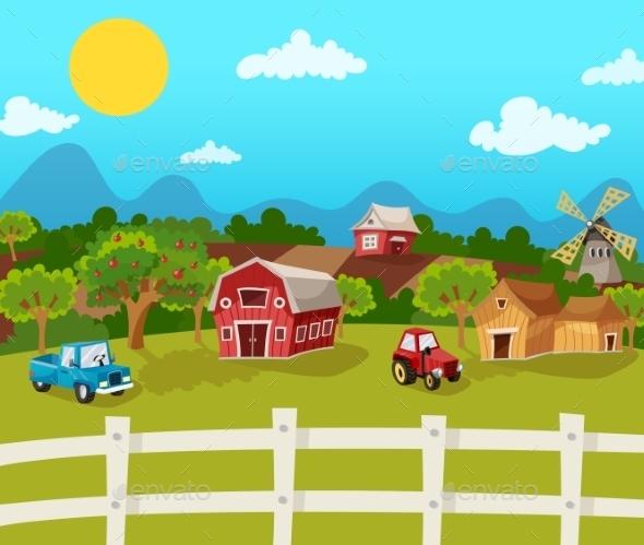 Farm Cartoon Background - Landscapes Nature
