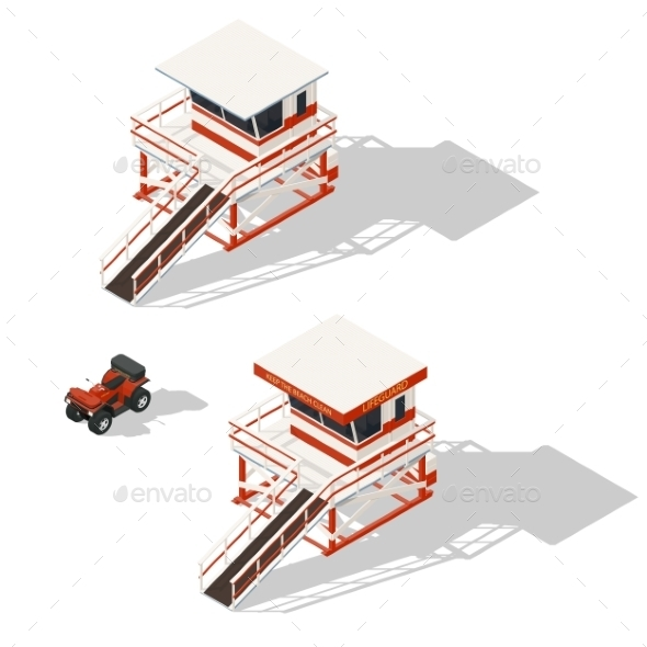 Lifeguard Tower and Quad Bike Isometric Icons Set - Decorative Symbols Decorative