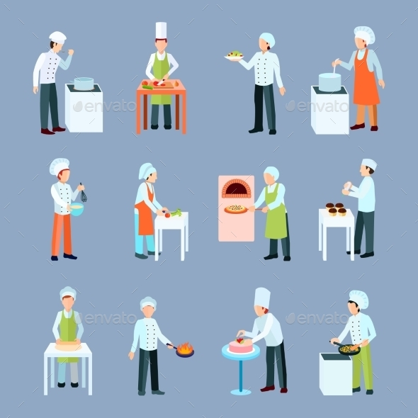 Cook Profession Icons Set - People Characters