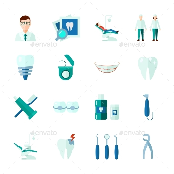 Dental Icons Set - Objects Icons