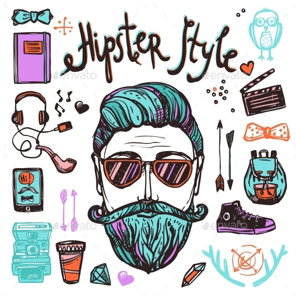 Hipster Cartoon Sketch Concept - People Characters