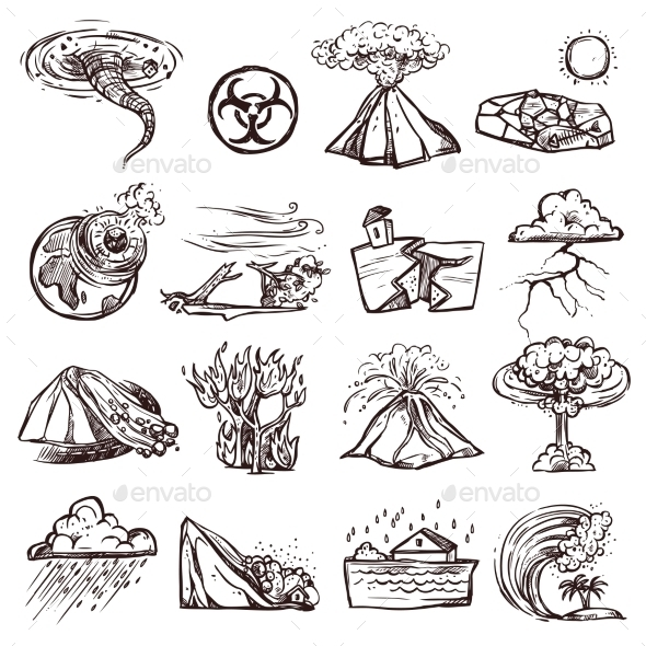 Natural Disaster Sketch Icon Set  - Miscellaneous Vectors