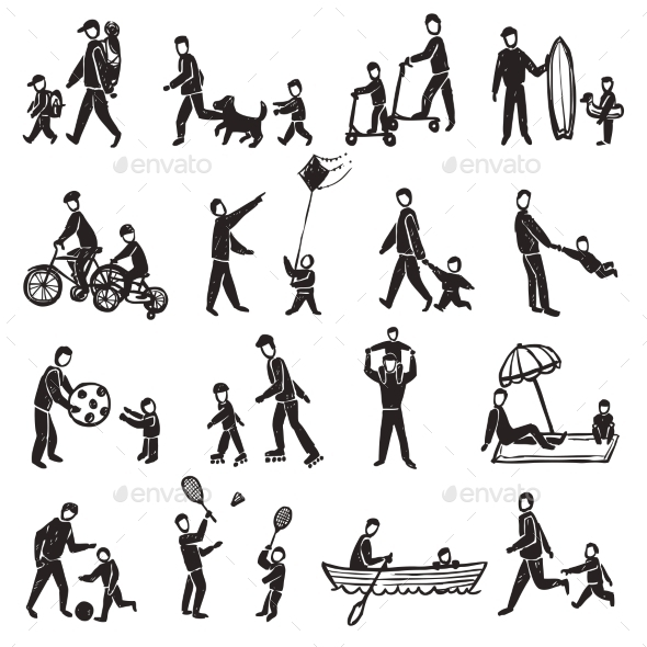 Family Activity Sketch Icon Set  - People Characters