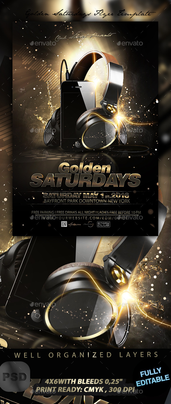 Golden Saturdays Flyer Template - Events Flyers