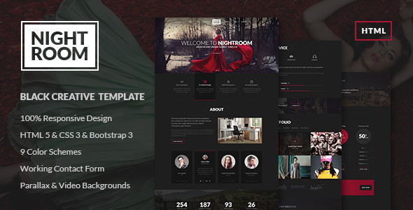 Night Room Creative Dark Template by EvathemeMarket
