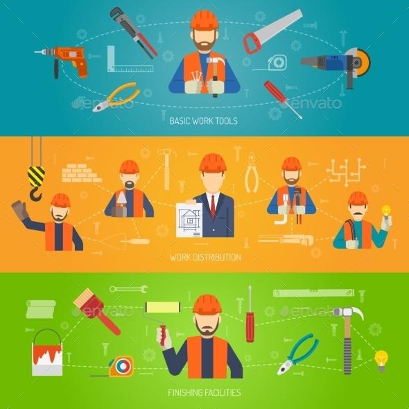 Construction Banner Set - Miscellaneous Vectors