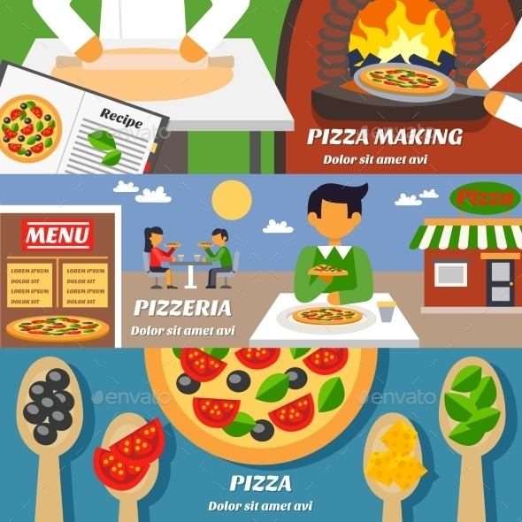 Pizza Banners Set - Food Objects