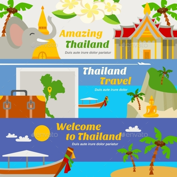 Thailand Travel Banners Set  - Travel Conceptual