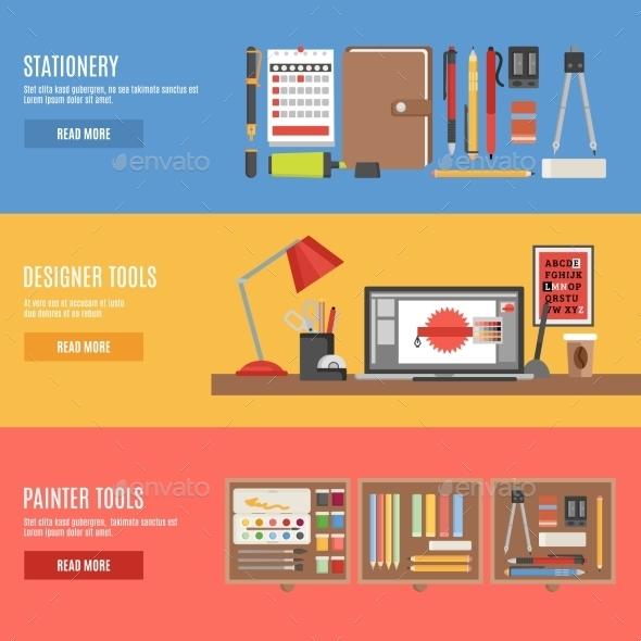 Painter and Designer Tools Banner Set - Media Technology