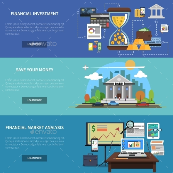 Finance Banner Horizontal Set - Concepts Business