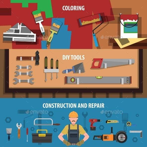 Tools Horizontal Banner Set - Miscellaneous Vectors