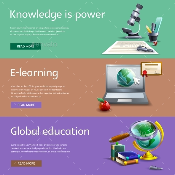 Education and Study Banners Set - Miscellaneous Conceptual