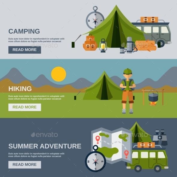 Camping Banner Set - Landscapes Nature