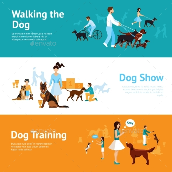 People with Dogs Banner Set - Animals Characters
