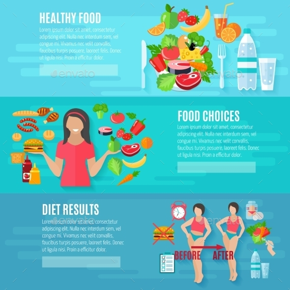 Weight Loose Diet Flat Banners Set - Health/Medicine Conceptual